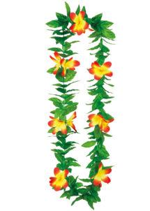 collier hawaïen, collier hawaï, collier de fleurs hawaïen, collier de fleurs hawaï, collier de fleurs hawaïen pas cher, Collier de Fleurs Hawaïen Jaune et Rouge, avec Feuilles Vertes
