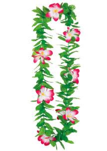 collier hawaïen, collier hawaï, collier de fleurs hawaïen, collier de fleurs hawaï, collier de fleurs hawaïen pas cher, Collier de Fleurs Hawaïen Fuchsia, avec Feuilles Vertes