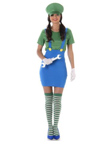 déguisement luigi femme, costume de luigi pour femme, mario et luigi, déguisement héros femme, déguisement de luigi pour femme Déguisement de Super Plombier Miss Luigi