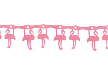 guirlande en papier, guirlande de décoration, décorations guirlande en papier, guirlande flamand rose, guirlande rose, décoration flamands roses Guirlande Flamants Roses en papier, 3 m