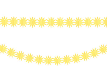 guirlande en papier, guirlande de décoration, décorations guirlande en papier, guirlande jaune, guirlande soleil, guirlande décorations Hawaï Guirlande en Papier, Soleils Jaunes