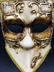 masque vénitien, loup vénitien, masque carnaval de venise, véritable masque vénitien, accessoire carnaval de venise, déguisement carnaval de venise, loup vénitien fait main Vénitien, Bauta Symphonie Vieil Or