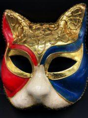 masque vénitien, loup vénitien, masque carnaval de venise, véritable masque vénitien, accessoire carnaval de venise, déguisement carnaval de venise, loup vénitien fait main, masque de chat Vénitien, Chat Décor Bleu, Rouge, Ivoire