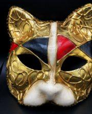 masque vénitien, loup vénitien, masque carnaval de venise, véritable masque vénitien, accessoire carnaval de venise, déguisement carnaval de venise, loup vénitien fait main, masque de chat Vénitien, Chat Décor Noir, Rouge, Ivoire