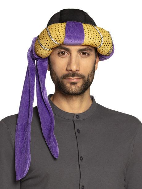 chapeaux oriental, coiffe orientale, chapeaux aladin, chapeaux orientals paris, coiffes orientales, chapeau doré paris, accessoire oriental, turban oriental, Chapeau de Sultan Oriental, Rubans Violets