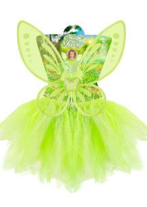 déguisement fée verte pour enfant, ailes de fée verte pour fille, kit de déguisement fée clochette, ailes de fée clochette pour enfant, ailes de fée pour enfant, Déguisement de Fée, Jupe + Ailes + Baguette, Fille