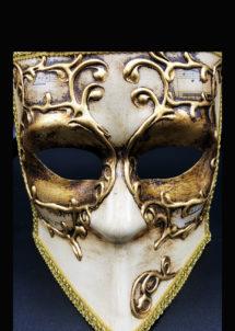 masque vénitien, loup vénitien, masque carnaval de venise, masque vénitien fait à la main, Vénitien, Bauta Symphonie Vieil Or