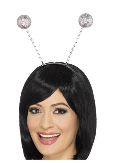 serre tête boules, serre tête antennes, serre tête antennes d'insecte, serre tête boules paillettes, Antennes Boules Argent à Paillettes