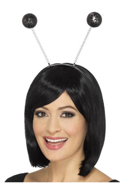 serre tête boules, serre tête antennes, serre tête antennes d'insecte, serre tête boules paillettes, Antennes Boules Noires à Paillettes