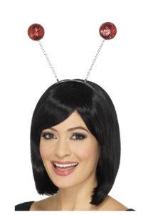 serre tête boules, serre tête antennes, serre tête antennes d'insecte, serre tête boules paillettes, Antennes Boules Rouges à Paillettes
