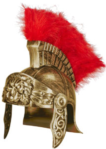 casque de romain, casques romains, accessoires déguisement de romain, casque de gladiateurs, accessoires soirée romaine déguisement, accessoire romain déguisement, Casque de Romain Vieil Or, avec Plumes Rouges
