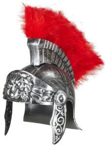 casque de romain, casques romains, accessoires déguisement de romain, casque de gladiateurs, accessoires soirée romaine déguisement, accessoire romain déguisement, Casque de Romain Vieilli, avec Plumes Rouges
