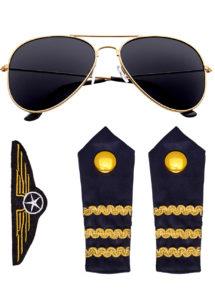 pilote, kit de pilote, lunettes de pilote, accessoire déguisement pilote, épaulettes de pilote, broche de pilote, accessoire déguisement de pilote, Kit de Pilote, Lunettes, Epaulettes et Broche