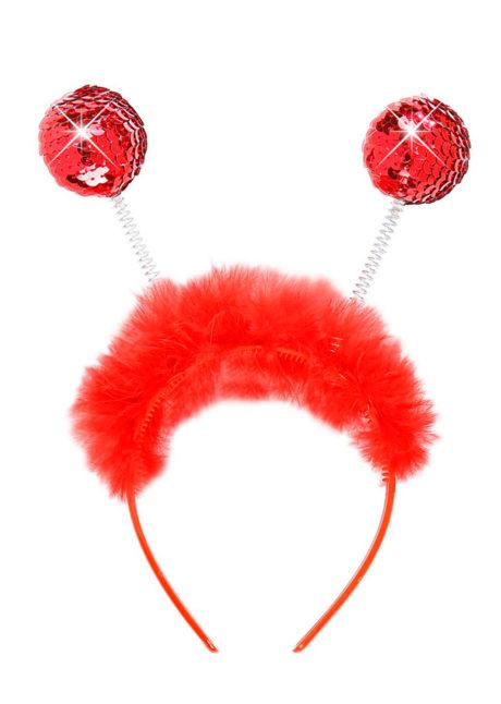 serre tête boules, serre tête antennes, serre tête antennes d'insecte, serre tête boules paillettes, Antennes Boules Paillettes Rouges, avec Plumes