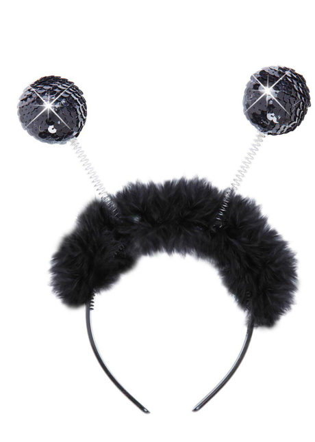 serre tête boules, serre tête antennes, serre tête antennes d'insecte, serre tête boules paillettes, Antennes Boules Paillettes Noires, avec Plumes