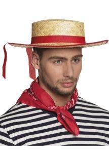 chapeau de gondolier, chapeau de paille gondolier, chapeau italien, chapeau canotier gondolier, canotier avec ruban, Canotier de Gondolier Vénitien, Paille et Ruban
