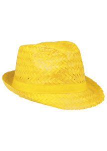 chapeau hawaï, chapeau hawaïen, accessoires hawaï, accessoires pour soirée hawaïenne, chapeaux de paille, accessoires chapeaux, Chapeau Hawaï, Aruba, Paille Jaune