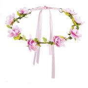 couronne de fleurs, accessoire fée déguisement, accessoire déguisement fée, accessoire hippie déguisement, accessoire déguisement hippie, accessoire couronne de fleurs, bandeau fleurs déguisement Bandeau Couronne de Fleurs, Satin Rose