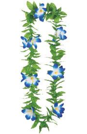 collier hawaïen, collier hawaï, collier de fleurs hawaïen, collier de fleurs hawaï, collier de fleurs hawaïen pas cher Collier de Fleurs Hawaïen Bleu, avec Feuilles Vertes