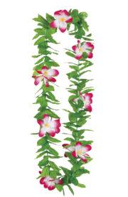collier hawaïen, collier hawaï, collier de fleurs hawaïen, collier de fleurs hawaï, collier de fleurs hawaïen pas cher Collier de Fleurs Hawaïen Fuchsia, avec Feuilles Vertes