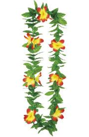 collier hawaïen, collier hawaï, collier de fleurs hawaïen, collier de fleurs hawaï, collier de fleurs hawaïen pas cher Collier de Fleurs Hawaïen Jaune et Rouge, avec Feuilles Vertes