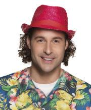 chapeau hawaï, chapeau hawaïen, accessoires hawaï, accessoires pour soirée hawaïenne, chapeaux de paille, accessoires chapeaux Chapeau Hawaï, Aruba, Paille Rouge