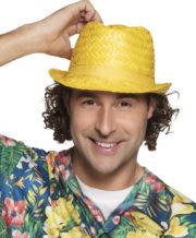 chapeau hawaï, chapeau hawaïen, accessoires hawaï, accessoires pour soirée hawaïenne, chapeaux de paille, accessoires chapeaux Chapeau Hawaï, Aruba, Paille Jaune