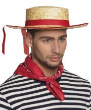 chapeau de gondolier, chapeau de paille gondolier, chapeau italien, chapeau canotier gondolier, canotier avec ruban Canotier de Gondolier Vénitien, Paille et Ruban