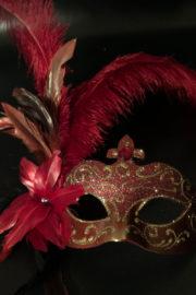 masque vénitien, loup vénitien, loup vénitien à plumes, masque vénitien fait à la main, masque carnaval de venise, vénitien signorina baby à plumes Venitien Signorina Baby, Bouquet Rouge