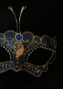 masque vénitien, masque carnaval de Venise, loup vénitien, masque vénitien, masque carnaval de venise, Vénitien Libellula, Bleu et Or