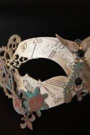 masque steampunk, loup steampunk, masque fait à la main, masque vénitien, loup vénitien, masque Halloween, masque original, masque steampunk Loup Steampunk, Folle Histoire du Temps, Blanc Aile