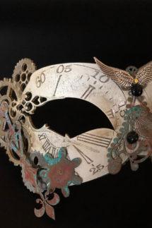 masque steampunk, loup steampunk, masque fait à la main, masque vénitien, loup vénitien, masque Halloween, masque original, masque steampunk, Loup Steampunk, Folle Histoire du Temps, Blanc Aile