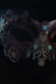 masque steampunk, loup steampunk, masque fait à la main, masque vénitien, loup vénitien, masque Halloween, masque original, masque steampunk Loup Steampunk, Folle Histoire du Temps, Marron Rouages