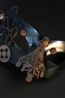 masque steampunk, loup steampunk, masque fait à la main, masque vénitien, loup vénitien, masque Halloween, masque original, masque steampunk, Loup Steampunk, Folle Histoire du Temps, Noir