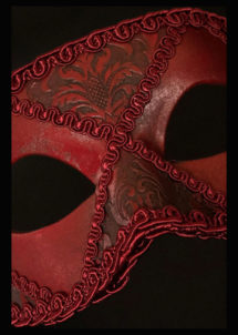 masque vénitien, masque carnaval de Venise, loup vénitien, masque vénitien, masque carnaval de venise, Vénitien Arlecchino Passementerie, Rouge