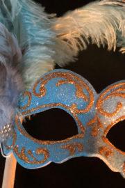 loup vénitien, masque vénitien, loup vénitien fait à la main, masque vénitien haute qualité, masque pour carnaval de venise, loup vénitien sur bâton, masque vénitien sur bâton Vénitien Signorina Baby, sur Bâton, Bleu Céleste