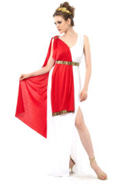 déguisement de déesse romaine, costume de romaine, déguisement de romaine, déguisement toge romaine pour femme, déguisement antiquité romaine femme, déguisement antiquité grecque femme Déguisement Romaine, Toge Blanche et Rouge