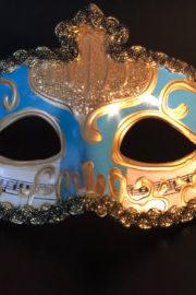 loup vénitien, masque vénitien, loup vénitien fait à la main, masque vénitien haute qualité, masque pour carnaval de venise Vénitien Stucco Musica, Bleu Céleste