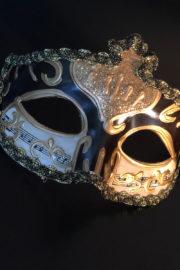 loup vénitien, masque vénitien, loup vénitien fait à la main, masque vénitien haute qualité, masque pour carnaval de venise Vénitien Stucco Musica, Noir