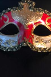 loup vénitien, masque vénitien, loup vénitien fait à la main, masque vénitien haute qualité, masque pour carnaval de venise Vénitien Stucco Musica, Rouge