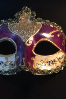 loup vénitien, masque vénitien, loup vénitien fait à la main, masque vénitien haute qualité, masque pour carnaval de venise, Vénitien Stucco Musica, Violine