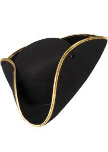 tricorne à galon, chapeau tricorne, chapeaux tricornes, Chapeau Tricorne Noir, Liseré Doré