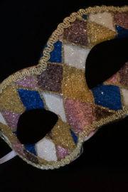 loup vénitien, masque vénitien, loup vénitien fait à la main, masque vénitien haute qualité, masque pour carnaval de venise, loup vénitien arlequin Vénitien Arlecchino Paillettes, Bleu, Rose et Or