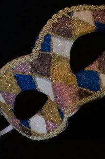 loup vénitien, masque vénitien, loup vénitien fait à la main, masque vénitien haute qualité, masque pour carnaval de venise, loup vénitien arlequin, Vénitien Arlecchino Paillettes, Bleu, Rose et Or