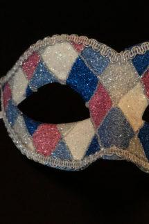 loup vénitien, masque vénitien, loup vénitien fait à la main, masque vénitien haute qualité, masque pour carnaval de venise, loup vénitien arlequin, Vénitien Arlecchino Paillettes, Bleu, Rose et Argent