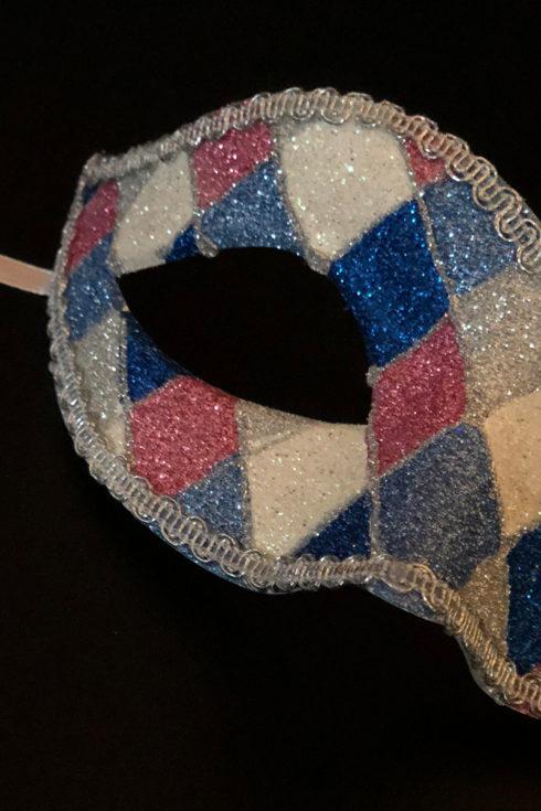 loup vénitien, masque vénitien, loup vénitien fait à la main, masque vénitien haute qualité, masque pour carnaval de venise, loup vénitien arlequin Vénitien Arlecchino Paillettes, Bleu, Rose et Argent