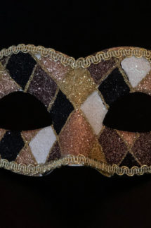 loup vénitien, masque vénitien, loup vénitien fait à la main, masque vénitien haute qualité, masque pour carnaval de venise, loup vénitien arlequin, Vénitien Arlecchino Paillettes, Noir et Or