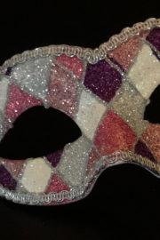 loup vénitien, masque vénitien, loup vénitien fait à la main, masque vénitien haute qualité, masque pour carnaval de venise, loup vénitien arlequin Vénitien Arlecchino Paillettes, Rose et Argent