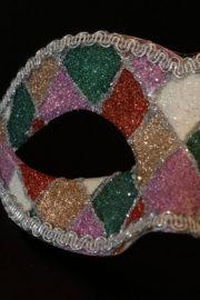 loup vénitien, masque vénitien, loup vénitien fait à la main, masque vénitien haute qualité, masque pour carnaval de venise, loup vénitien arlequin Vénitien Arlecchino Paillettes, Vert et Rouge
