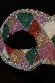 loup vénitien, masque vénitien, loup vénitien fait à la main, masque vénitien haute qualité, masque pour carnaval de venise, loup vénitien arlequin, Vénitien Arlecchino Paillettes, Vert et Rouge